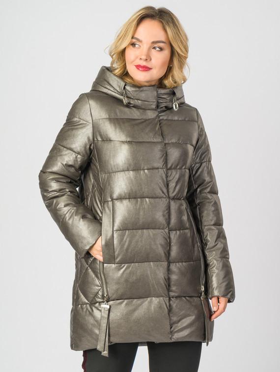 Кожаное пальто эко-кожа 100% П/А, цвет желтый металлик, арт. 24007120  - цена 9490 руб.  - магазин TOTOGROUP