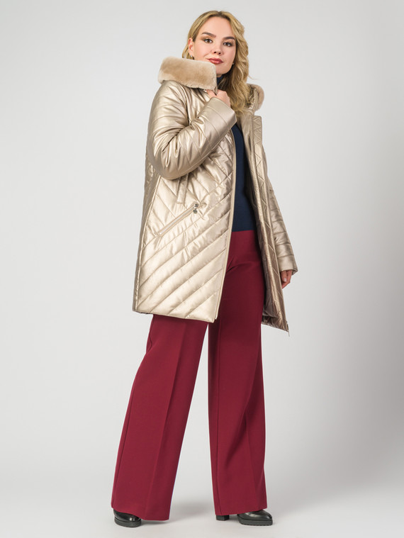 Кожаное пальто эко-кожа 100% П/А, цвет желтый металлик, арт. 24007307  - цена 14190 руб.  - магазин TOTOGROUP