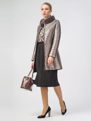 Кожаное пальто эко-кожа 100% П/А, цвет желтый металлик, арт. 24108151  - цена 5890 руб.  - магазин TOTOGROUP