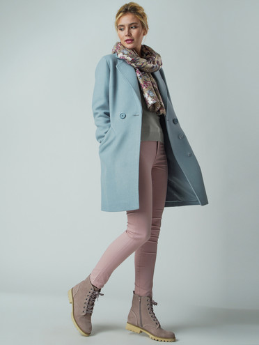 Текстильное пальто 30%шерсть, 70% п.э, цвет голубой, арт. 25005633  - цена 5590 руб.  - магазин TOTOGROUP