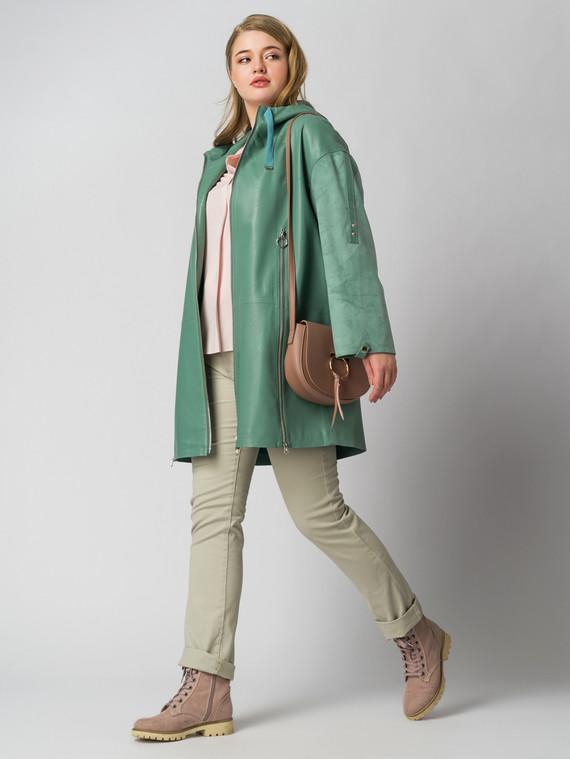 Кожаное пальто эко кожа 100% П/А, цвет бирюзовый, арт. 25005789  - цена 6630 руб.  - магазин TOTOGROUP