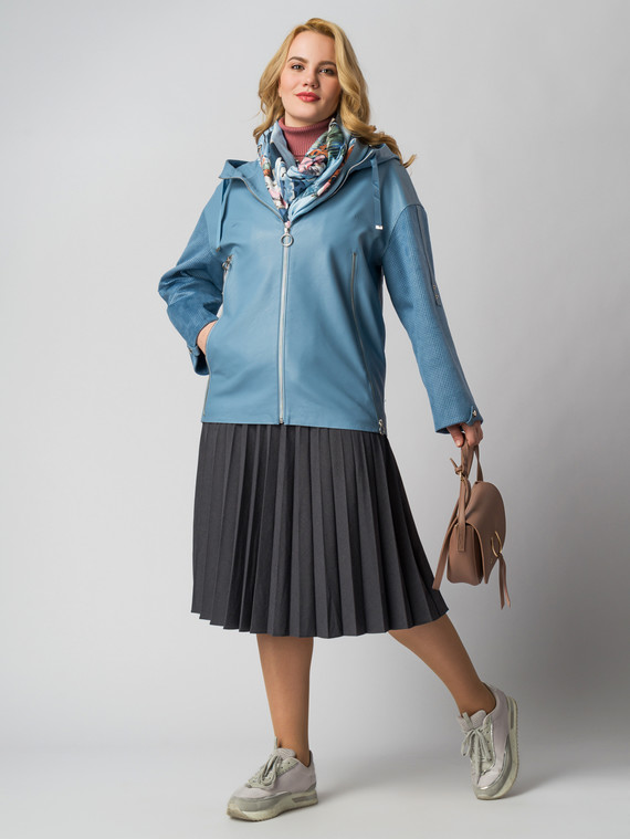Кожаная куртка эко кожа 100% П/А, цвет голубой, арт. 25005794  - цена 6290 руб.  - магазин TOTOGROUP