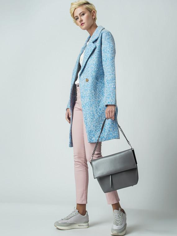 Текстильное пальто 30%шерсть, 70% п\а, цвет голубой, арт. 25005857  - цена 4490 руб.  - магазин TOTOGROUP