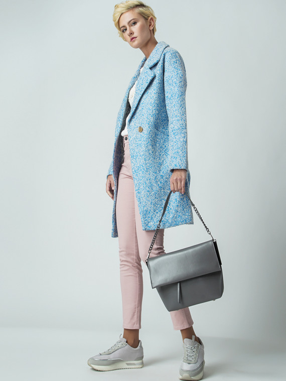 Текстильное пальто 30%шерсть, 70% п\а, цвет голубой, арт. 25005857  - цена 5290 руб.  - магазин TOTOGROUP