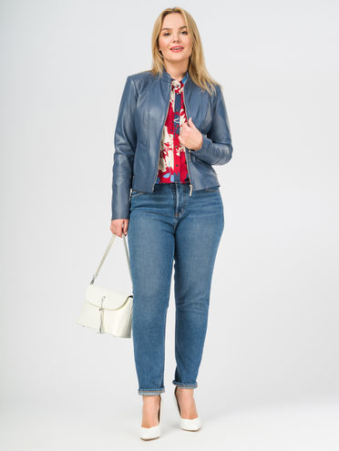 Кожаная куртка кожа , цвет голубой, арт. 25106275  - цена 11990 руб.  - магазин TOTOGROUP