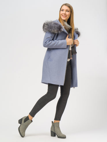 Текстильное пальто 35% шерсть, 65% полиэстер, цвет голубой, арт. 25109095  - цена 5290 руб.  - магазин TOTOGROUP