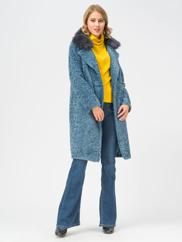 Текстильное пальто эко мех 100% П/Э, цвет голубой, арт. 25109311  - цена 7490 руб.  - магазин TOTOGROUP