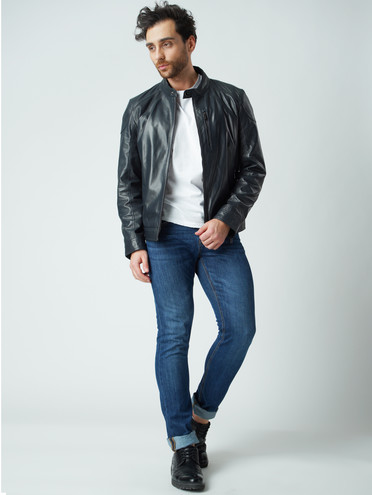 Кожаная куртка кожа , цвет темно-синий, арт. 26003408  - цена 8990 руб.  - магазин TOTOGROUP