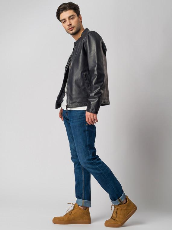 Кожаная куртка кожа , цвет темно-синий, арт. 26003412  - цена 11290 руб.  - магазин TOTOGROUP