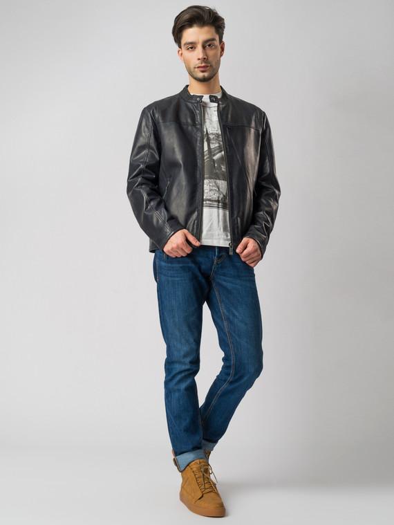 Кожаная куртка кожа , цвет темно-синий, арт. 26003414  - цена 11990 руб.  - магазин TOTOGROUP