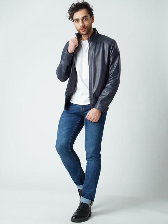 Кожаная куртка кожа , цвет темно-синий, арт. 26003423  - цена 10590 руб.  - магазин TOTOGROUP