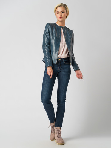 Кожаная куртка кожа , цвет синий, арт. 26005483  - цена 11290 руб.  - магазин TOTOGROUP