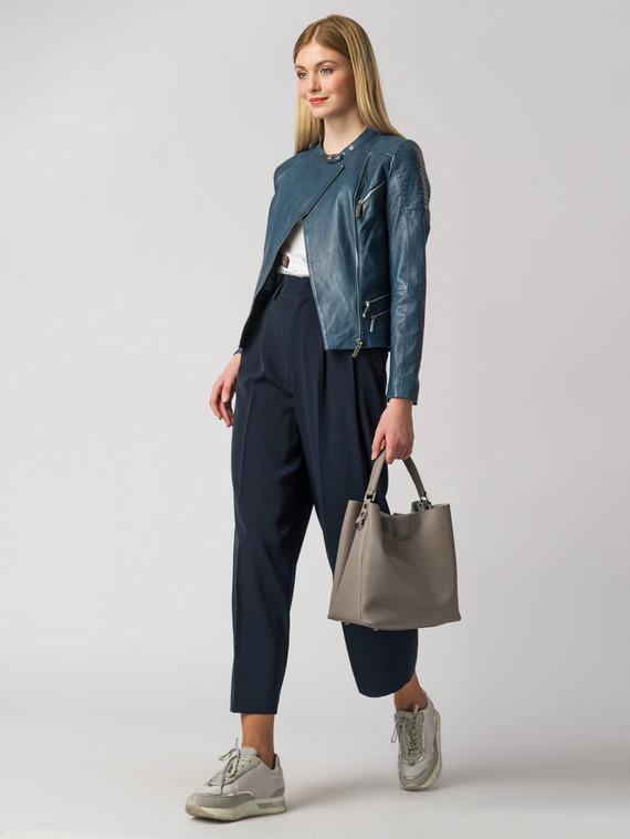 Кожаная куртка кожа , цвет темно-синий, арт. 26005484  - цена 6990 руб.  - магазин TOTOGROUP