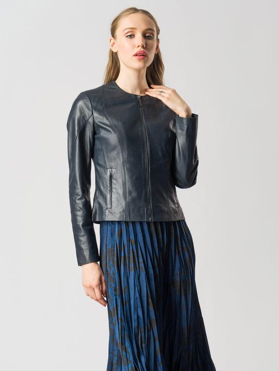 Кожаная куртка кожа , цвет темно-синий, арт. 26005518  - цена 8990 руб.  - магазин TOTOGROUP