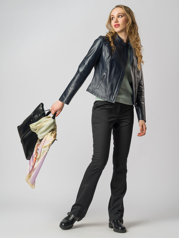 Кожаная куртка кожа , цвет темно-синий, арт. 26005520  - цена 8990 руб.  - магазин TOTOGROUP