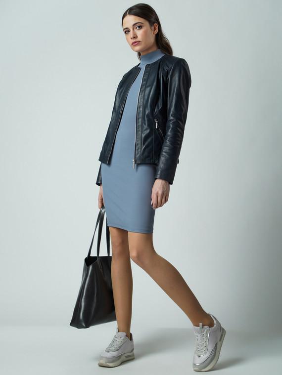 Кожаная куртка кожа , цвет темно-синий, арт. 26005537  - цена 12690 руб.  - магазин TOTOGROUP