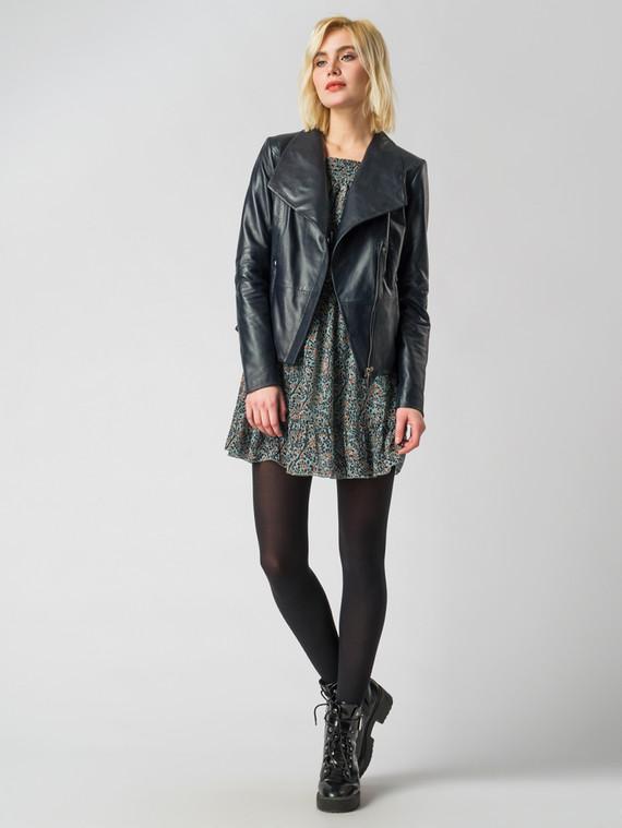 Кожаная куртка кожа , цвет темно-синий, арт. 26005541  - цена 9990 руб.  - магазин TOTOGROUP