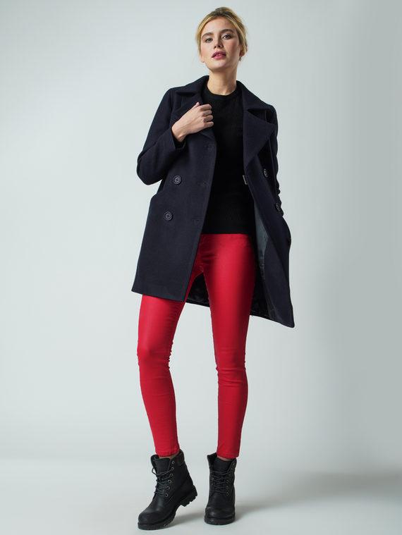 Текстильное пальто 30%шерсть, 70% п.э, цвет темно-синий, арт. 26005632  - цена 4990 руб.  - магазин TOTOGROUP