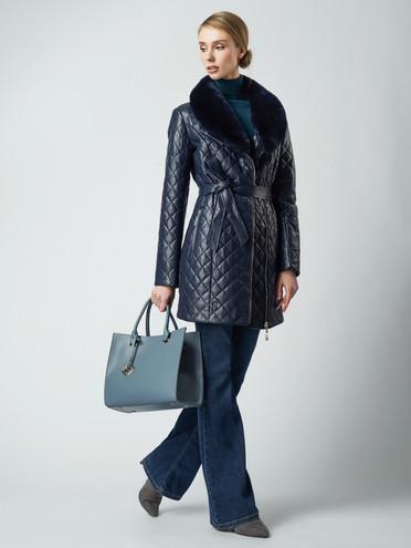 Кожаное пальто эко кожа 100% П/А, цвет темно-синий, арт. 26005817  - цена 6990 руб.  - магазин TOTOGROUP