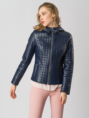 Кожаная куртка эко-кожа 100% П/А, цвет темно-синий, арт. 26005818  - цена 5590 руб.  - магазин TOTOGROUP