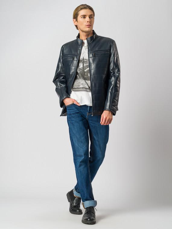 Кожаная куртка кожа баран, цвет темно-синий, арт. 26005960  - цена 13390 руб.  - магазин TOTOGROUP