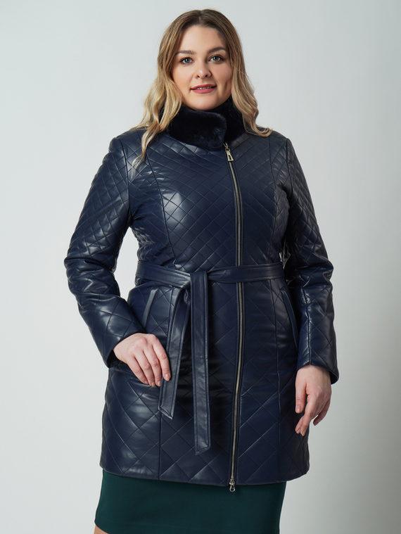Кожаное пальто эко кожа 100% П/А, цвет темно-синий, арт. 26006135  - цена 6630 руб.  - магазин TOTOGROUP