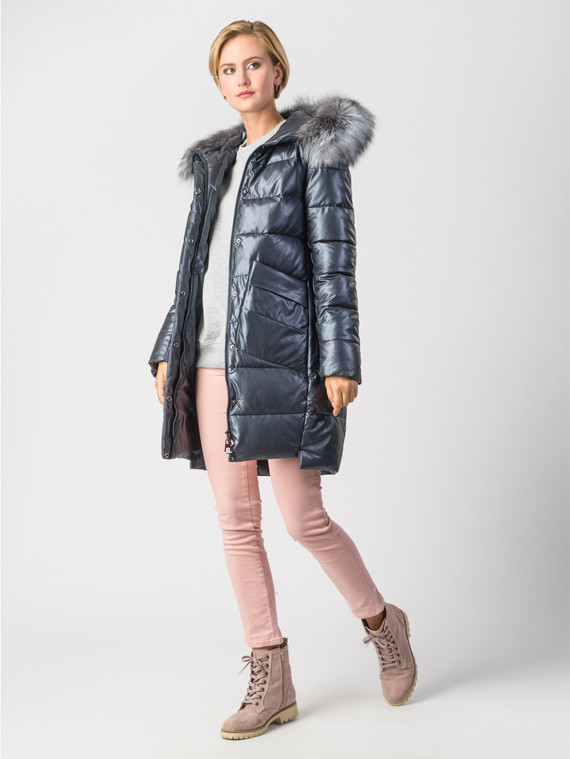 Кожаное пальто эко-кожа 100% П/А, цвет темно-синий, арт. 26006311  - цена 9990 руб.  - магазин TOTOGROUP