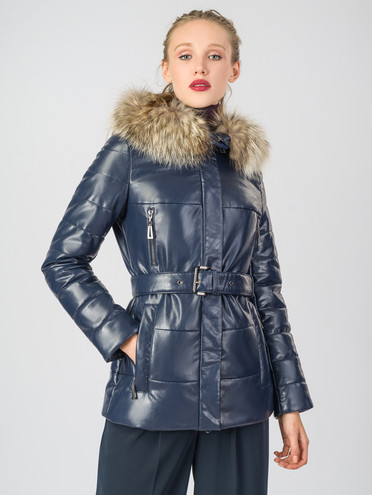 Кожаная куртка эко-кожа 100% П/А, цвет темно-синий, арт. 26006323  - цена 5290 руб.  - магазин TOTOGROUP