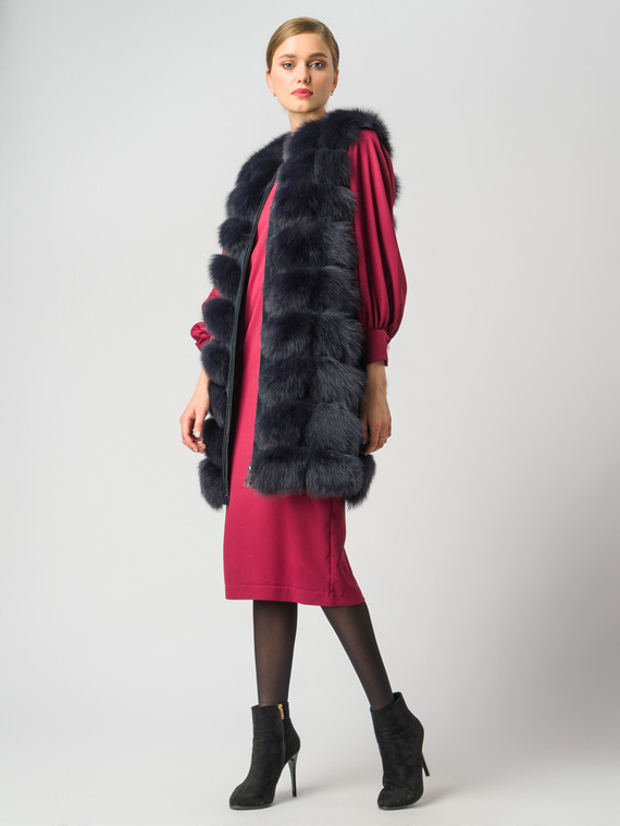 Меховой жилет мех песец, цвет темно-синий, арт. 26006362  - цена 18990 руб.  - магазин TOTOGROUP