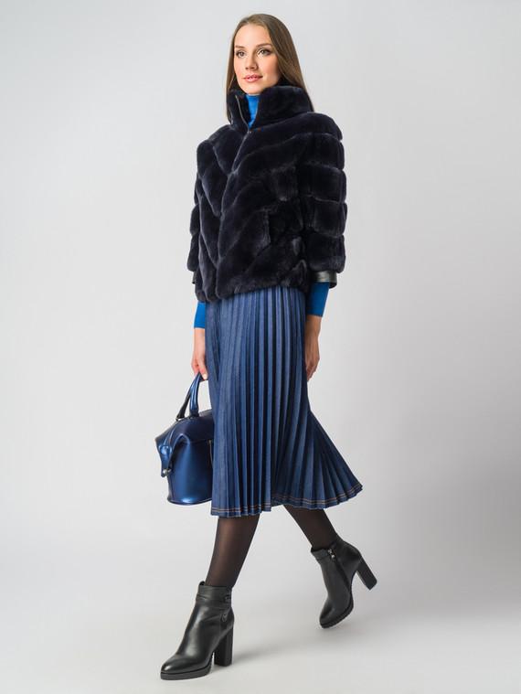Шуба из кролика мех кролик, цвет темно-синий, арт. 26006404  - цена 23990 руб.  - магазин TOTOGROUP