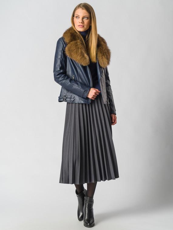Кожаная куртка эко-кожа 100% П/А, цвет темно-синий, арт. 26006466  - цена 6990 руб.  - магазин TOTOGROUP