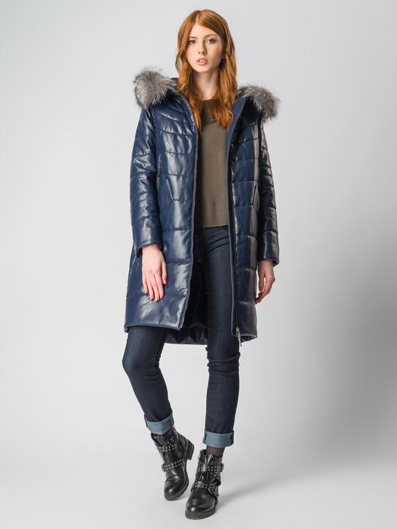 Кожаное пальто эко-кожа 100% П/А, цвет темно-синий, арт. 26006600  - цена 8490 руб.  - магазин TOTOGROUP