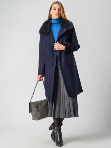 Текстильное пальто 30%шерсть, 70% п\а, цвет темно-синий, арт. 26006601  - цена 5290 руб.  - магазин TOTOGROUP