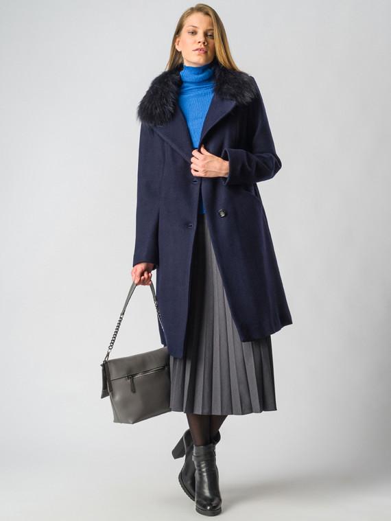 Текстильное пальто 30%шерсть, 70% п\а, цвет темно-синий, арт. 26006601  - цена 7990 руб.  - магазин TOTOGROUP