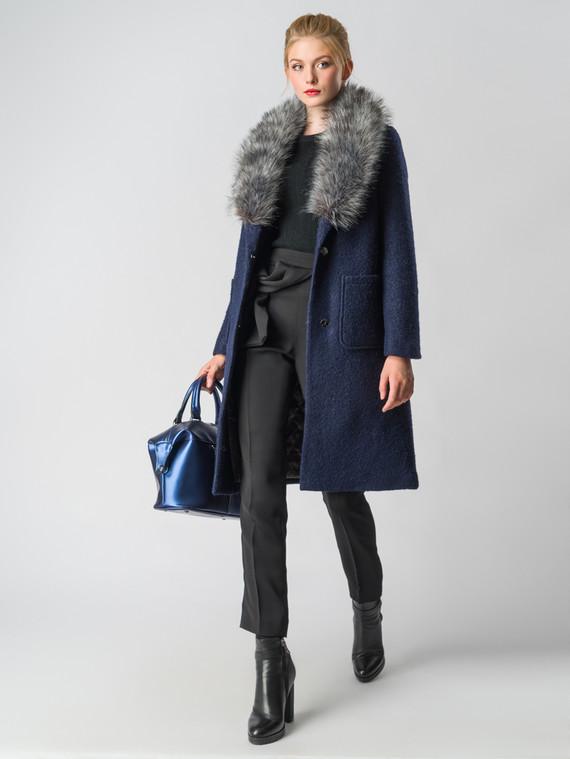 Текстильное пальто 30%шерсть, 70% п\а, цвет темно-синий, арт. 26006603  - цена 7990 руб.  - магазин TOTOGROUP