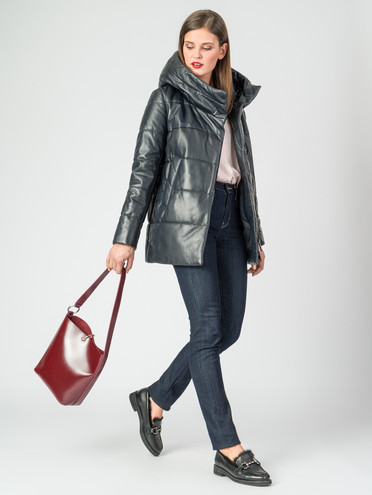 Кожаная куртка кожа , цвет темно-синий, арт. 26006752  - цена 16990 руб.  - магазин TOTOGROUP