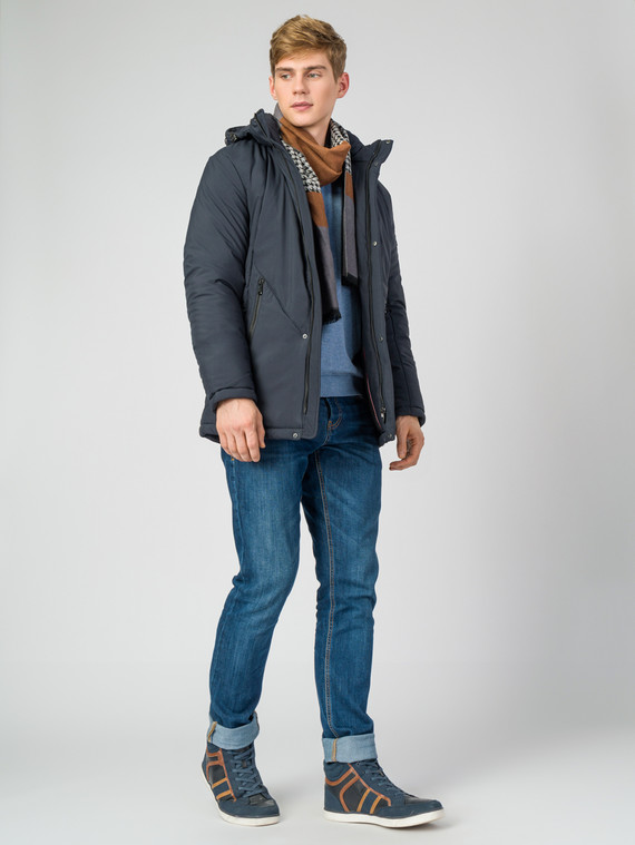 Пуховик текстиль, цвет темно-синий, арт. 26006779  - цена 3590 руб.  - магазин TOTOGROUP