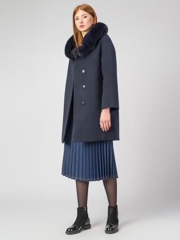 Текстильное пальто 30%шерсть, 70% п.э, цвет темно-синий, арт. 26006798  - цена 6630 руб.  - магазин TOTOGROUP