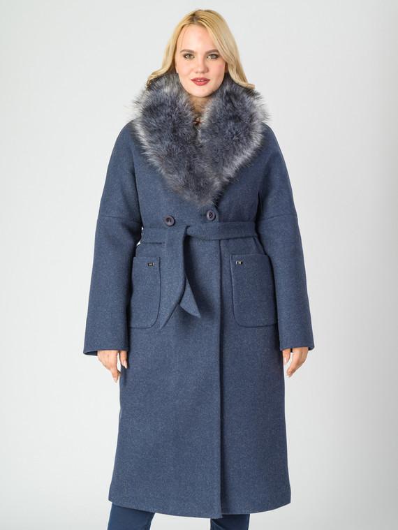 Текстильное пальто 30%шерсть, 70% п.э, цвет темно-синий, арт. 26006813  - цена 8490 руб.  - магазин TOTOGROUP