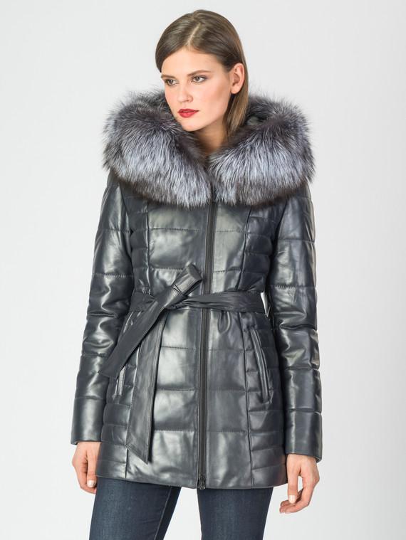 Кожаная куртка кожа , цвет темно-синий, арт. 26006849  - цена 14190 руб.  - магазин TOTOGROUP