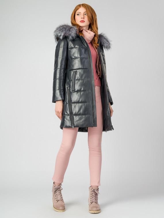 Кожаное пальто кожа , цвет темно-синий, арт. 26006863  - цена 21290 руб.  - магазин TOTOGROUP