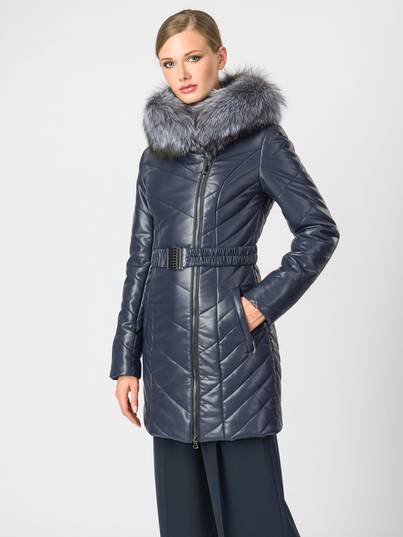 Кожаная куртка эко-кожа 100% П/А, цвет темно-синий, арт. 26006876  - цена 8990 руб.  - магазин TOTOGROUP