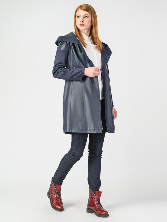 Кожаное пальто эко-кожа 100% П/А, цвет темно-синий, арт. 26006980  - цена 5890 руб.  - магазин TOTOGROUP