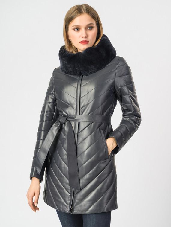 Кожаная куртка кожа , цвет темно-синий, арт. 26006987  - цена 13390 руб.  - магазин TOTOGROUP