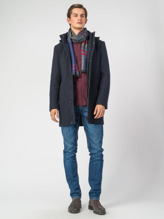 Текстильное пальто 51% п/э,49%шерсть, цвет темно-синий, арт. 26007031  - цена 5890 руб.  - магазин TOTOGROUP
