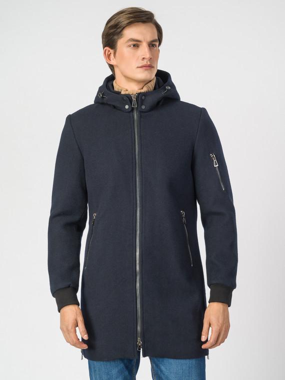 Текстильное пальто 51% п/э,49%шерсть, цвет темно-синий, арт. 26007032  - цена 4990 руб.  - магазин TOTOGROUP