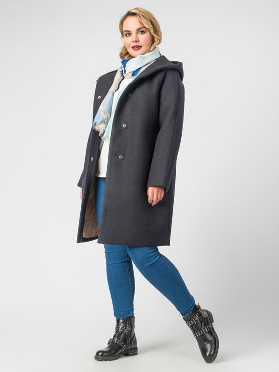 Текстильное пальто 30%шерсть, 70% п\а, цвет темно-синий, арт. 26007108  - цена 7990 руб.  - магазин TOTOGROUP