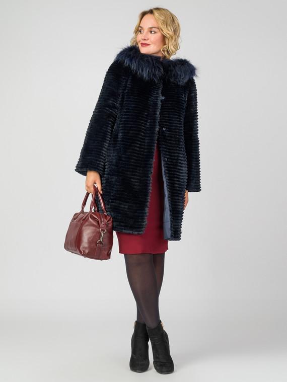 Шуба из кролика мех кролик, цвет темно-синий, арт. 26007478  - цена 42490 руб.  - магазин TOTOGROUP