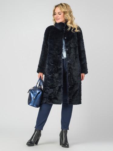 Шуба из кролика мех кролик, цвет темно-синий, арт. 26007479  - цена 33990 руб.  - магазин TOTOGROUP