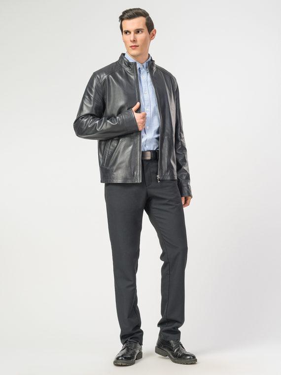 Кожаная куртка кожа , цвет темно-синий, арт. 26106152  - цена 12690 руб.  - магазин TOTOGROUP